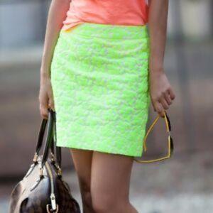 J Crew Neon Lemon Mini Skirt